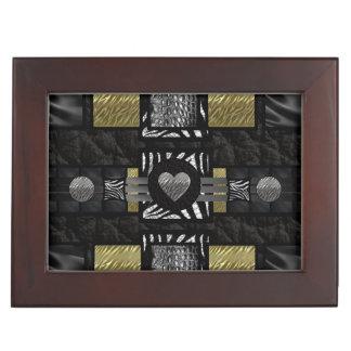 Gold Silver Zebra Heart crocodile Keepsake Box