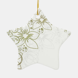 Gold Simple Floral pattern Ceramic Star Decoration