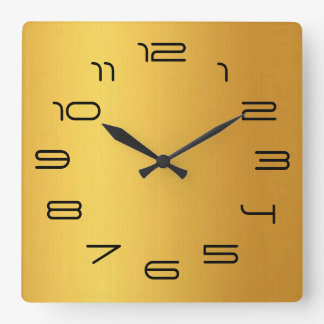 Gold simplicity square wall clock
