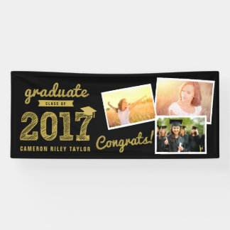 Gold Sketch 2017 Photo Collage Grad Party Banner