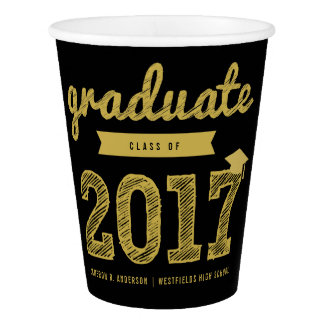 Gold Sketch Grad 2017 Graduation Party Paper Cup