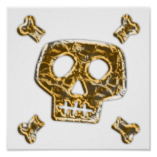 Gold Skull and Crossbones Poster
