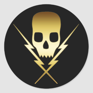 GOLD SKULL AND LIGHTNING BOLTS ROUND STICKER