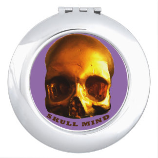 Gold Skull Mind purple Compact mirror