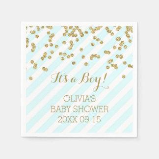 Gold Sky Blue Confetti Stripes Baby Shower Disposable Napkin