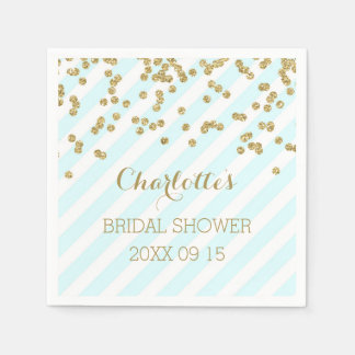Gold Sky Blue Confetti Stripes Bridal Shower Paper Napkin
