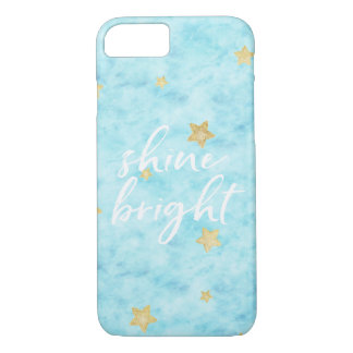 Gold Sky Blue Stars Watercolor Shine Bright iPhone 8/7 Case