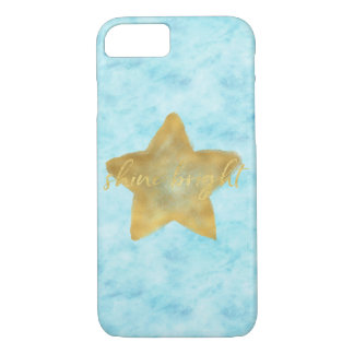 Gold Sky Blue Watercolor Star Shine Bright iPhone 8/7 Case