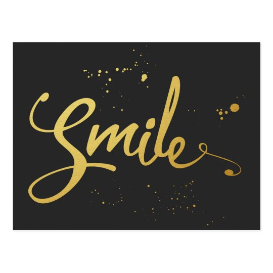 Gold Smile Quote Postcard