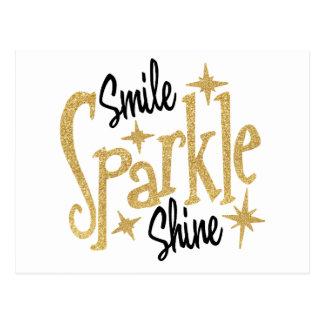 Gold Smile Sparkle Shine Positive Inspiration Postcard