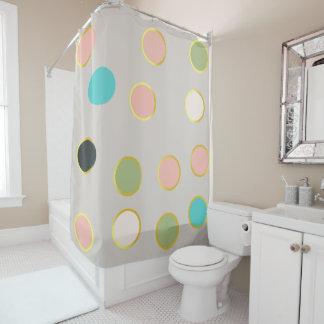 gold smoked polka dots shower curtain