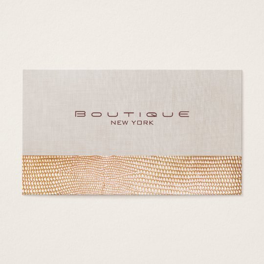 Gold Snake Skin and Linen Fashion Boutique Business Card