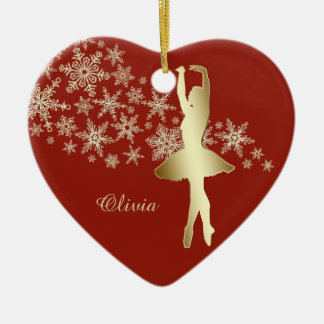 Gold Snowflake Ballerina Red Personalized Christmas Ornament