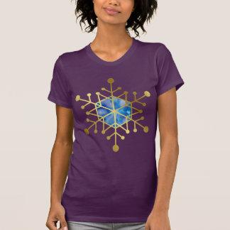 Gold Snowflake Blue Purple Watercolor Christmas T-Shirt