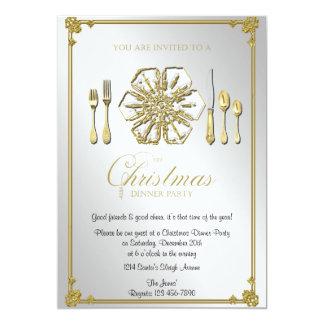 Gold Snowflake Christmas Dinner Party 13 Cm X 18 Cm Invitation Card