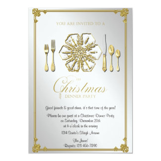 Gold Snowflake Christmas Dinner Party Card