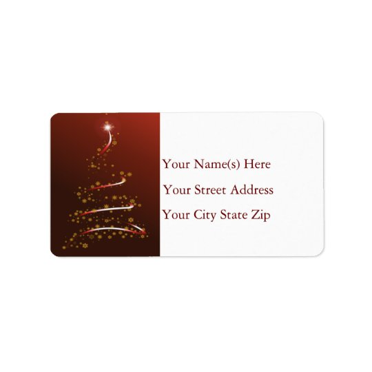 Gold Snowflake Christmas Tree Address Label