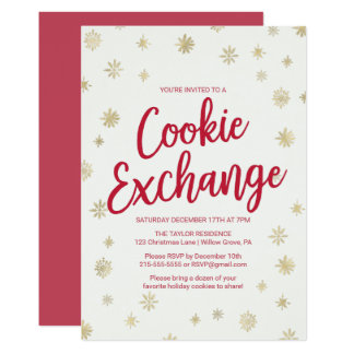 Gold Snowflake Cookie Exchange Card