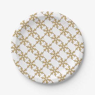 Gold Snowflake Design Paper Plates