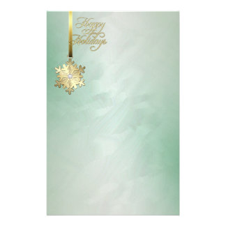 Gold Snowflake Green Foil Holiday Stationery