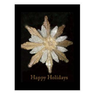 Gold Snowflake Holiday Postcard