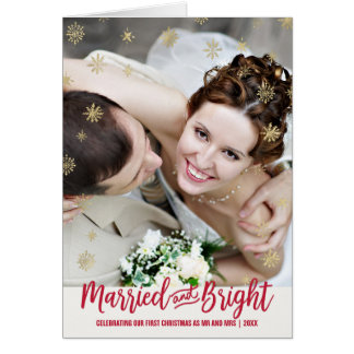 Gold Snowflake Married and Bright Christmas Photo Card