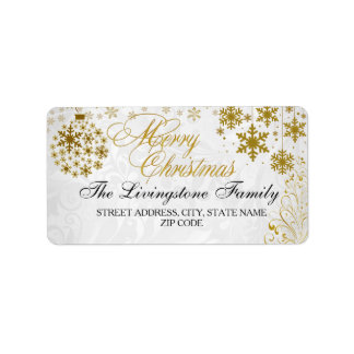 Gold Snowflake Merry Christmas Address Labels