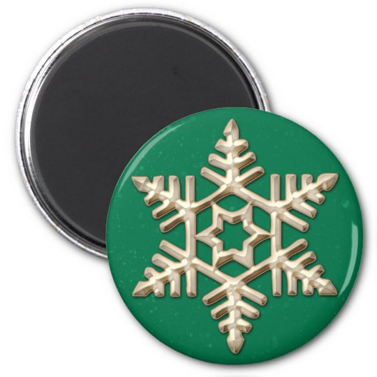 Gold Snowflake on Green Holiday Magnet
