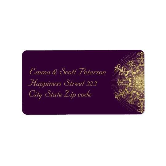 Gold snowflake on purple winter wedding label