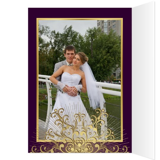Gold snowflake on purple winter wedding Thank You Card