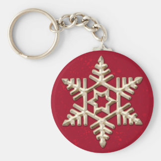 Gold Snowflake on Red Holiday Keychain