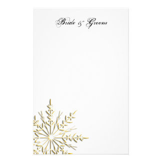 Gold Snowflake on White Winter Wedding Stationery