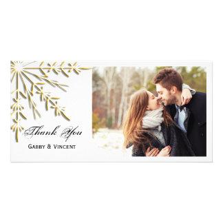 Gold Snowflake on White Winter Wedding Thank You Customized Photo Card