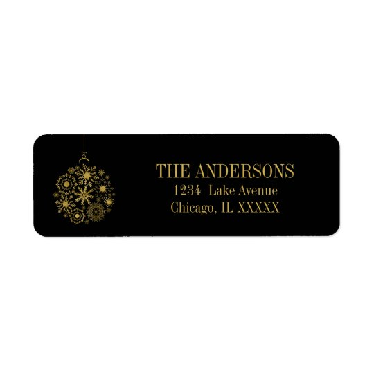Gold Snowflake Ornament Holiday Address Label