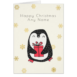 Gold Snowflake Penguin Personalised Christmas Card