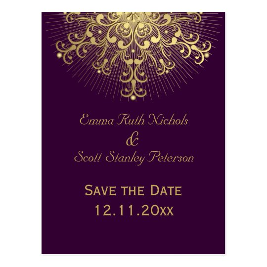 Gold snowflake purple winter wedding Save the Date