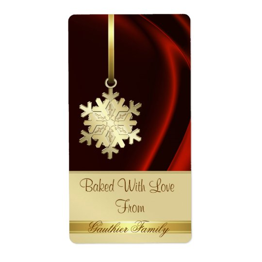 Gold Snowflake Red Silk Holiday Baking Label