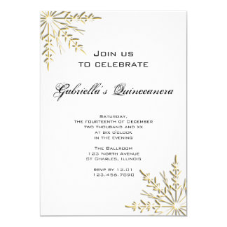 Gold Snowflake Winter Quinceanera Invitation