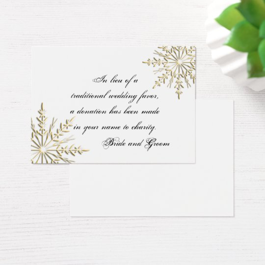 Gold Snowflake Winter Wedding Charity Favour Card