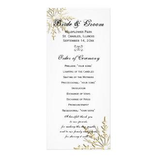 Gold Snowflake Winter Wedding Program Rack Cards