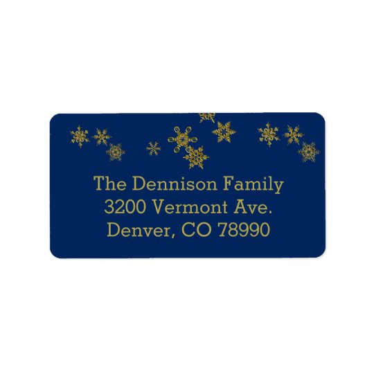 Gold Snowflakes Blue Christmas Address Label