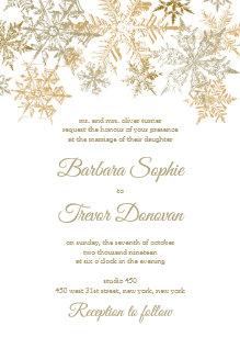 f9ab456f1a18 Gold Snowflakes Christmas Themed Winter Wedding Invitation