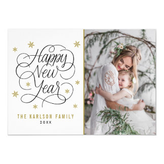 Gold Snowflakes | Happy New Year Photo Card 13 Cm X 18 Cm Invitation Card