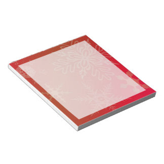 Gold Snowflakes on Gradated Red Notepad