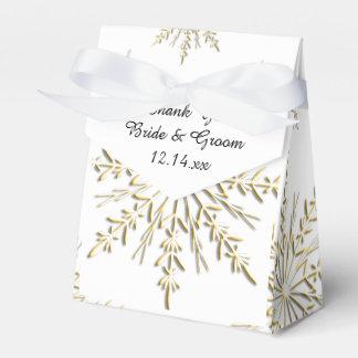 Gold Snowflakes on White Winter Wedding Favour Box