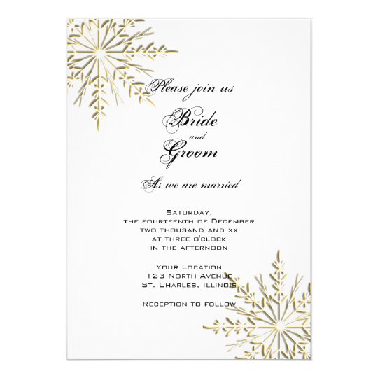 Gold Snowflakes on White Winter Wedding Invitation