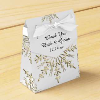Gold Snowflakes on White Winter Wedding Party Favour Box