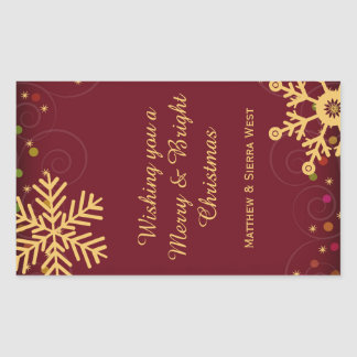 Gold Snowflakes Red Christmas Holiday Wine Label