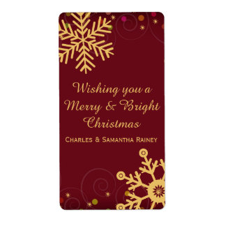 Gold Snowflakes Red Christmas Holiday Wine Label Shipping Label
