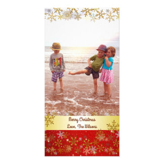 Gold Snowflakes Red Christmas Vertical Card